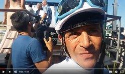 Contenido de la imagen Heber Eugui tras ganar junto a Brillante Ok el GP Ciudad de Montevideo